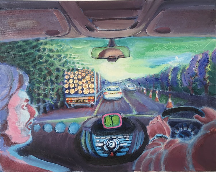 Driving to Heathrow, oil painting 2018 by Alexandra Drysdale