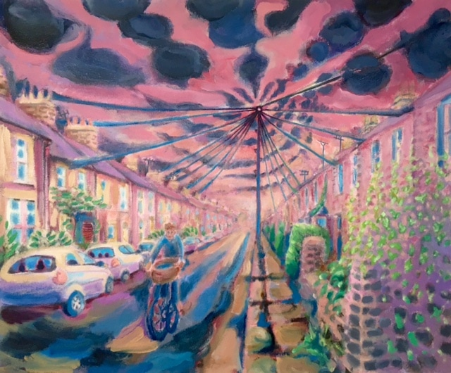 The Telegraph Pole: Gwydir St, Cambridge, oil, 2018 by Alexandra Drysdale