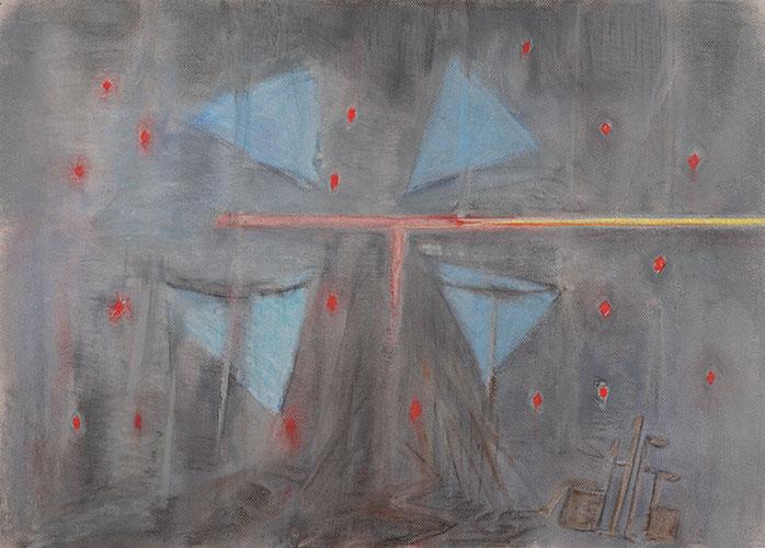 Jesus dies, pastel by Alexandra Drysdale