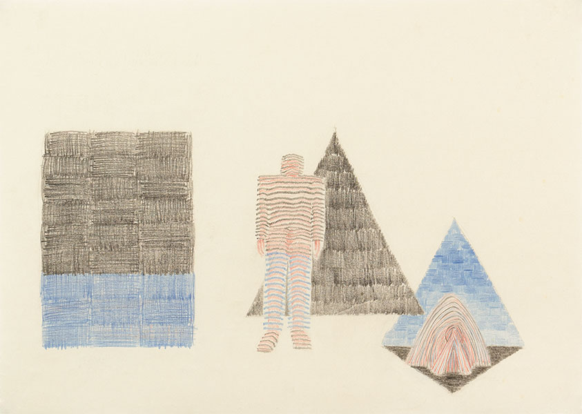 Blue with Black, Triangle Drawings by Alexandra Drysdale, series of drawings in 2018