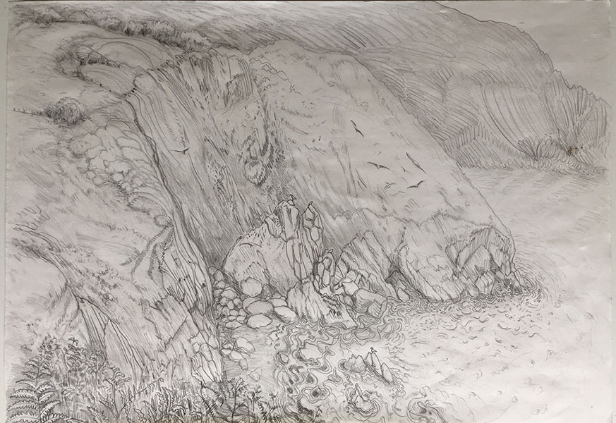A pencil sketch of Mill Meadow Cove by Alexandra Drysdale