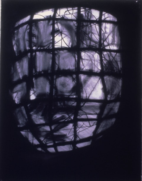 Cage, charcoal, 1980-1990 by Alexandra Drysdale - Somerset artist