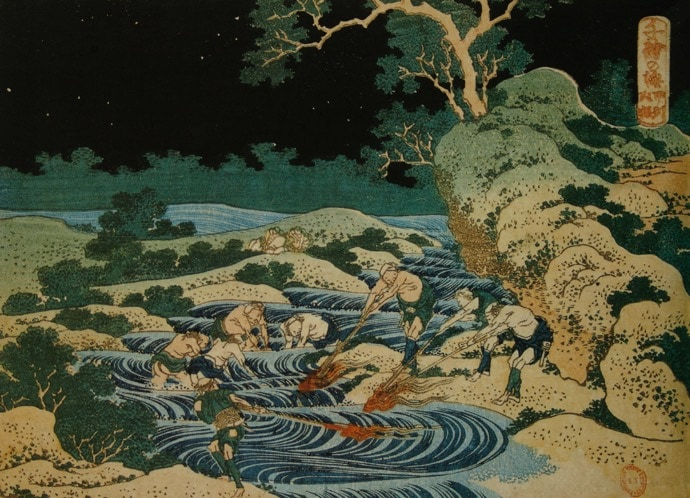 Fishing by torchlight, Hokusai - Japanese artwork studied within an Art History lecture by Alexandra Drysdale called Journey of the river from its source to the sea