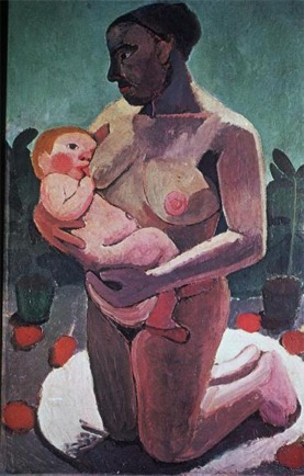 Knealing Mother and child, Modersohn-Becker, German art in the early 20th century