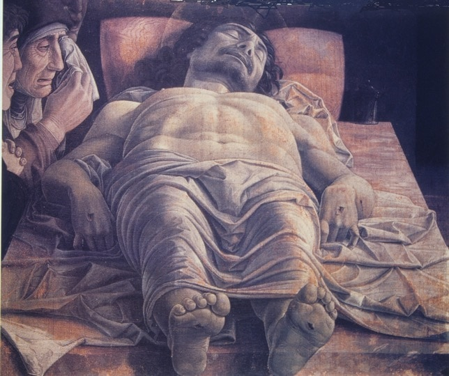 Discussed within art history lecture @down to Earth' presented by Alexandra Drysdale : Lamentation Over the dead Christ, Mategna