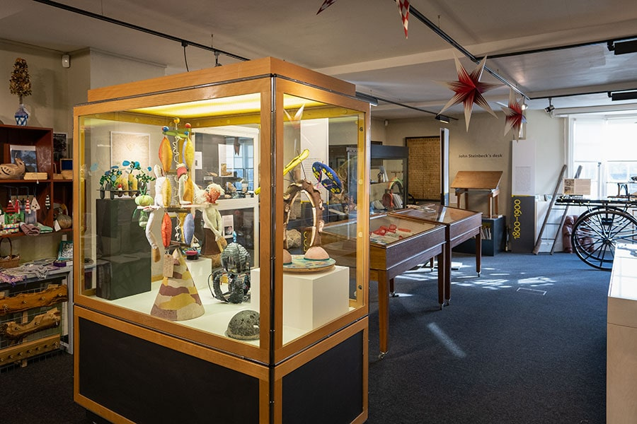 Sculptures on display at Casespace; Artefacts of Alexandra Drysdale; Bruton Museum Casespace