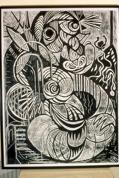 Looking & Listening, Large woodcut; Archive art work dating 1980-1990 by Alexandra Drysdale