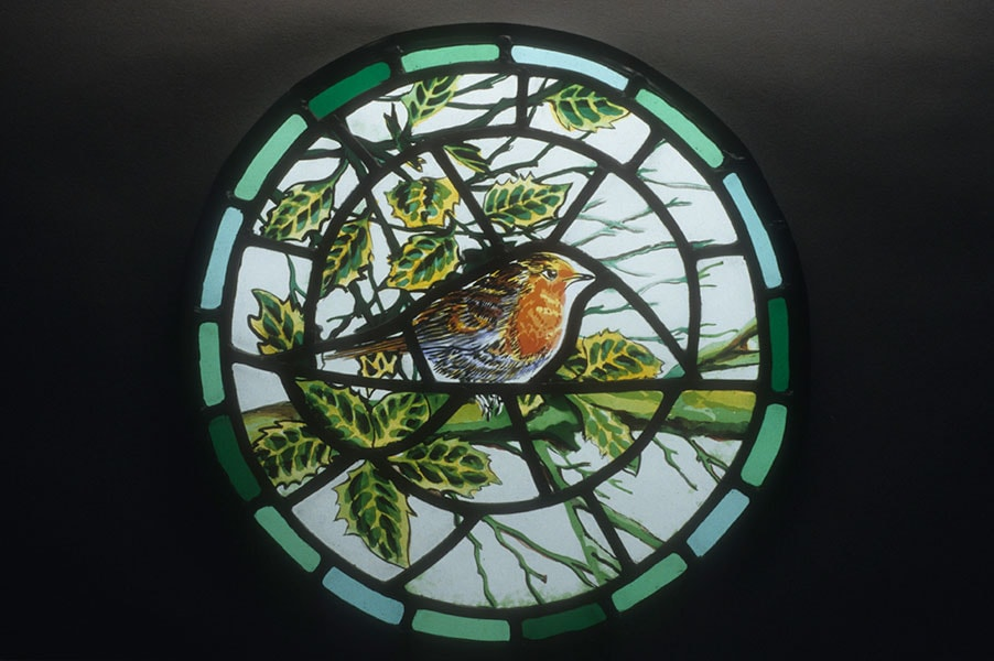 Robin, roundel, stained glass - Archive art work dating to prior 2010 by Alexandra Drysdale
