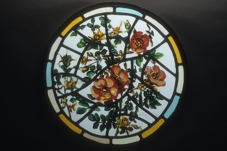 Rose, roundel, stained glass; Archive art work dating to prior 2010 by Alexandra Drysdale