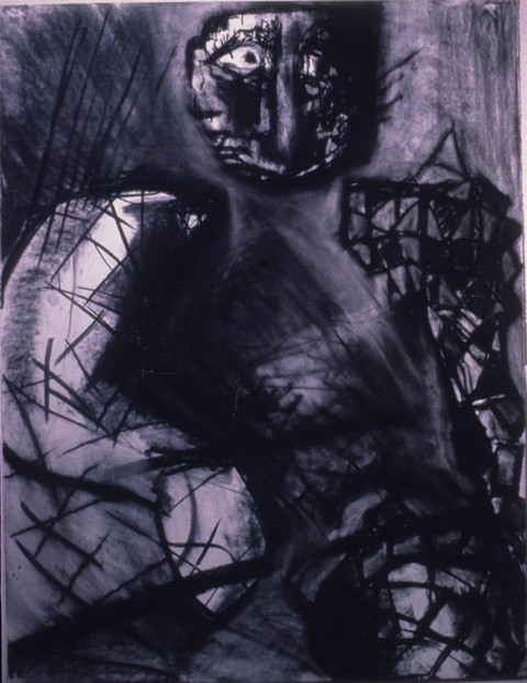 Self portrait, charcoal, 1980-1990, Alexandra Drysdale