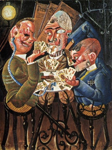 Skat players by Otto Dix - German artist of the early 20th century