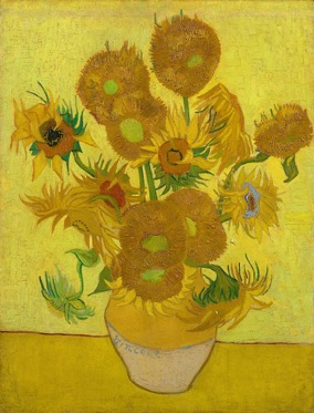 Sunflowers by Van Gogh - used in Alexandra Drysdale's study day on the subject of cardinal colours - Sunflowers use a lot of yellow