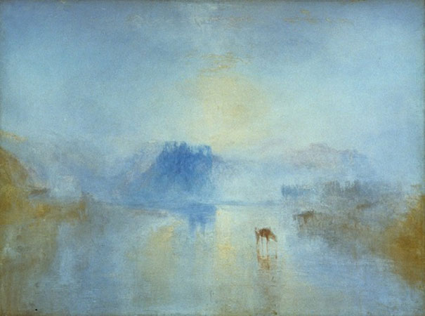 Sunrise at Norham Castle by JMW Turner - discussed in Alexandra Drysdale's Art History lecture on The Elements - Air