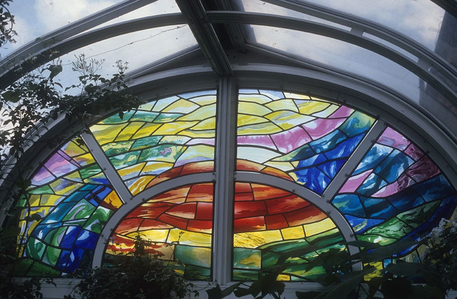 Sunset over the Thames, stained glass; Archive art work dating to prior 2010 by Alexandra Drysdale