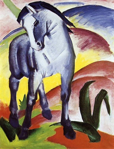 Blue Horse 1 by Franz Marc - discussed in Alexandra Drysdale's art history lecture on the merits of German Art in the first half of the 20th Century