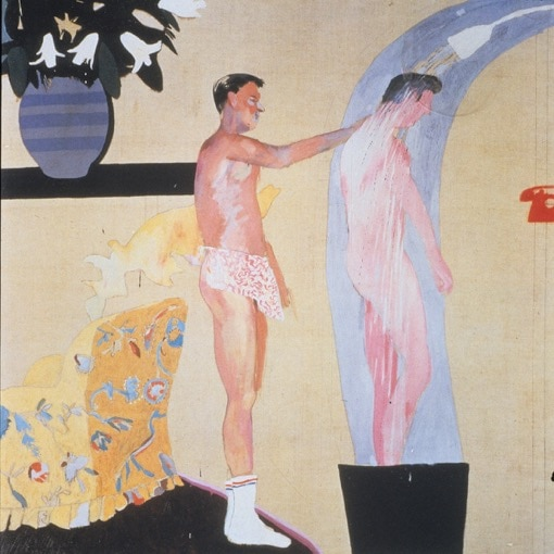Painting of men washing in the shower Wedding