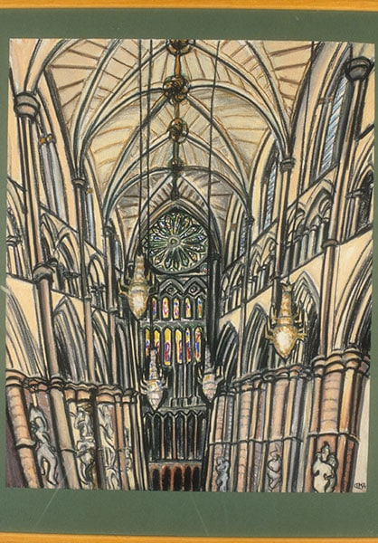 Westminster Abbey, pastel; Archive art work dating to prior 2010 by Alexandra Drysdale