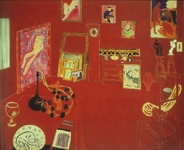 Red Studio by Matisse, one of the paintings studied and dissected in Alexandra Drysdale's art history lecture named Red Vibrations