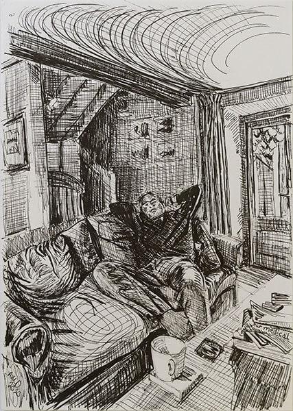 Lockdown ennui, 2020, pen, 29 x 21 cm by Alexandra Drysdale