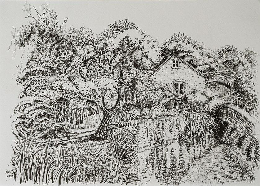 Pitcombe cottage, pen, 21 x 29 cm by Alexandra Drysdale