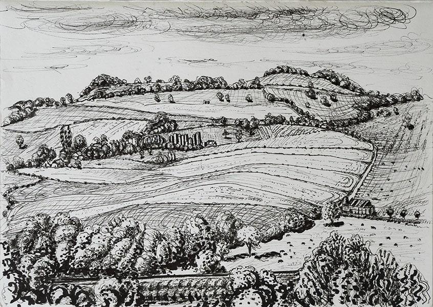 Wyke farm, pen, 21 x 29 cm by Alexandra Drysdale